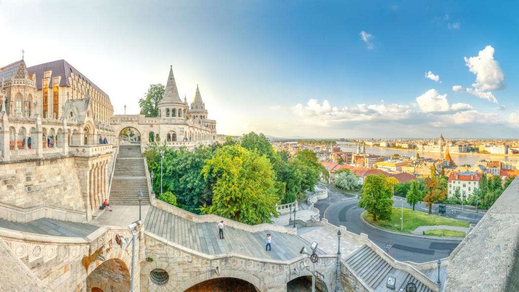 Budapest, Fischerbastei, Panorama ber Budapest,